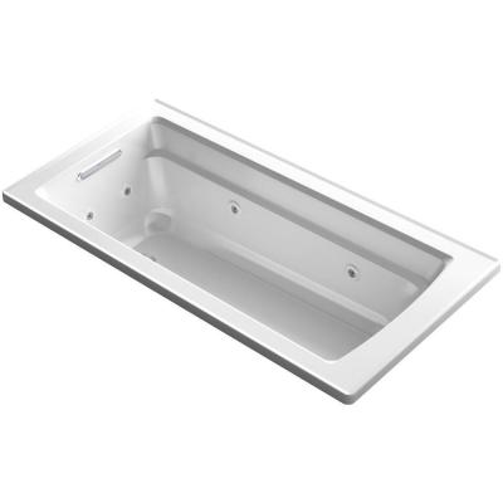 Archer 66 in. Acrylic Rectangular Drop-In Whirlpool Bathtub in White