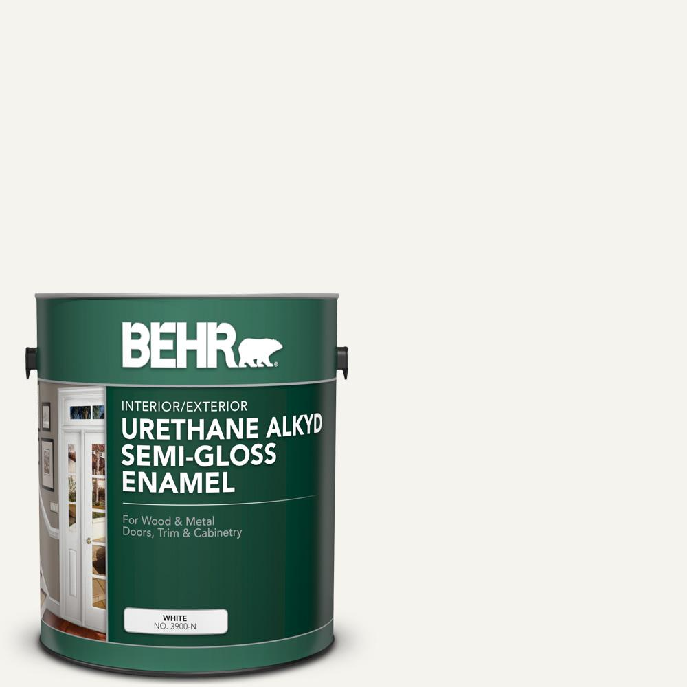 BEHR 1 gal. #75 Polar Bear Urethane Alkyd Semi-Gloss Enamel Interior/Exterior Paint