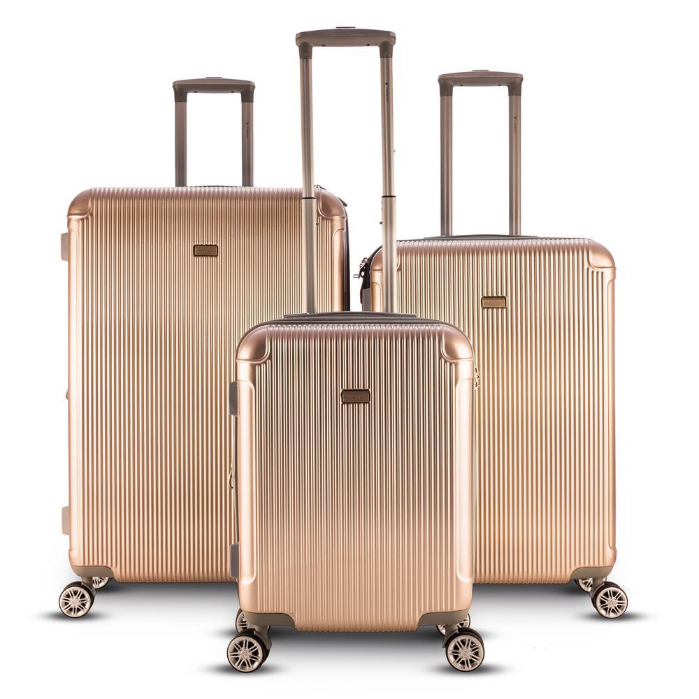 Genova 3-Piece Hardside Upright Spinner Luggage Set in Champagne