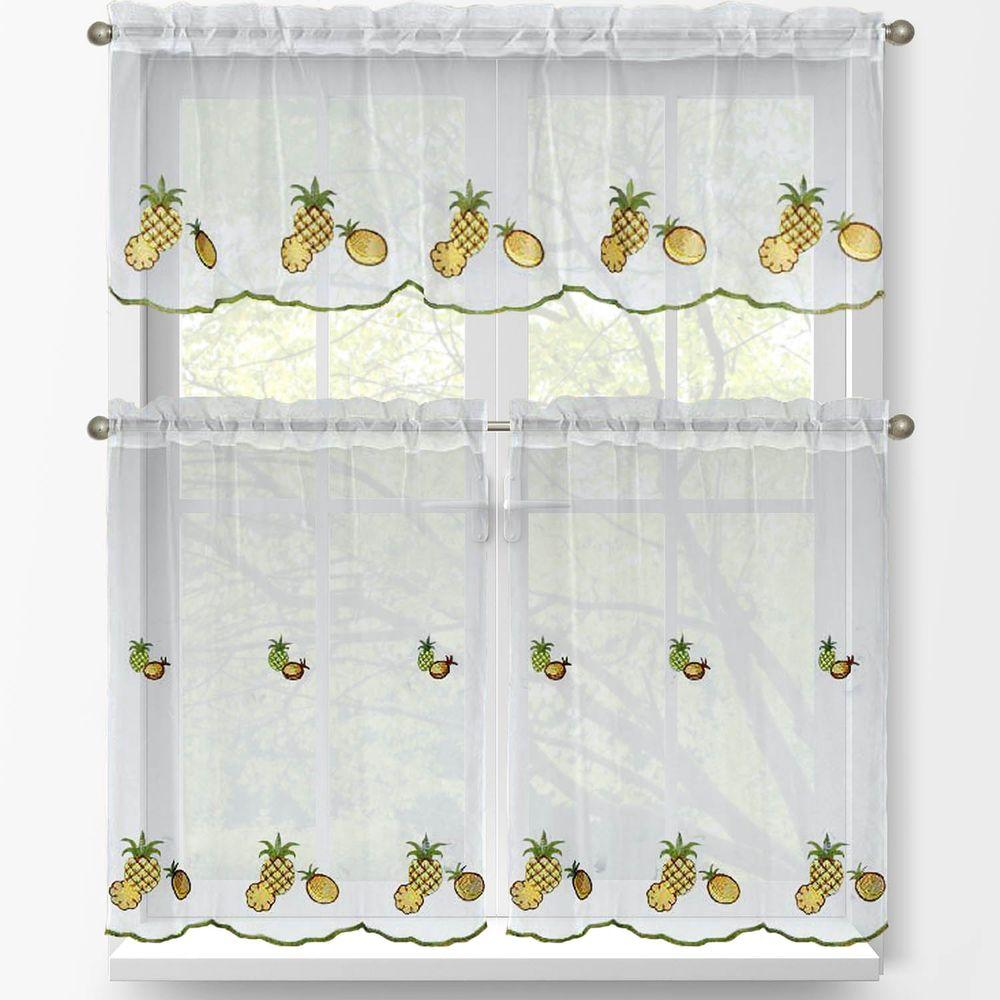 Window Elements Sheer Pineapple Embroidered 3 Piece Kitchen Curtain