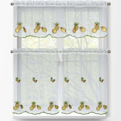 Sheer Pineapple Embroidered 3-Piece Kitchen Curtain Tier and Valance Set