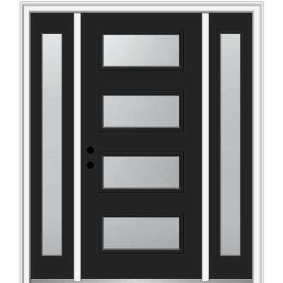 68.5 in. x 81.75 in. Celeste Right-Hand Inswing 4-Lite Frosted Modern Painted Steel Prehung Front Door with Sidelites