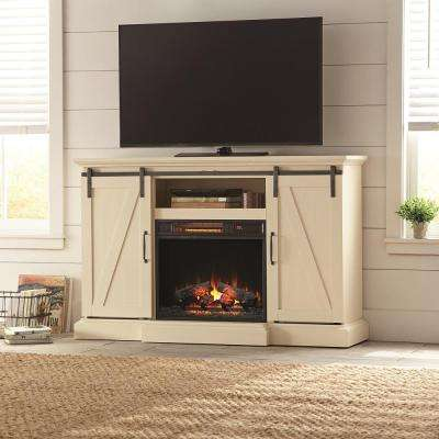 Chestnut Hill 56 in. TV Stand Electric Fireplace with Sliding Barn Door in Ivory