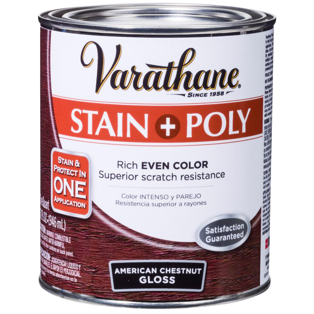 1-qt. American Chestnut Gloss Water-Based Interior Stain and Polyurethane