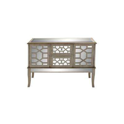 48 in. x 34 in. Rectangular Textured White and Mirrored Buffet Chest with Geometric Design Over 2 Drawers and 2 Cabinets