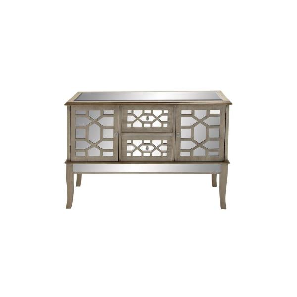 Rectangular Textured White And Mirrored Buffet Chest With Geometric Design Over 2 Drawers Cabinets