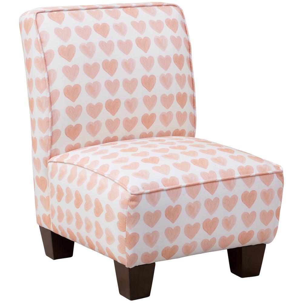 Hearts Peach Kid's Slipper Chair
