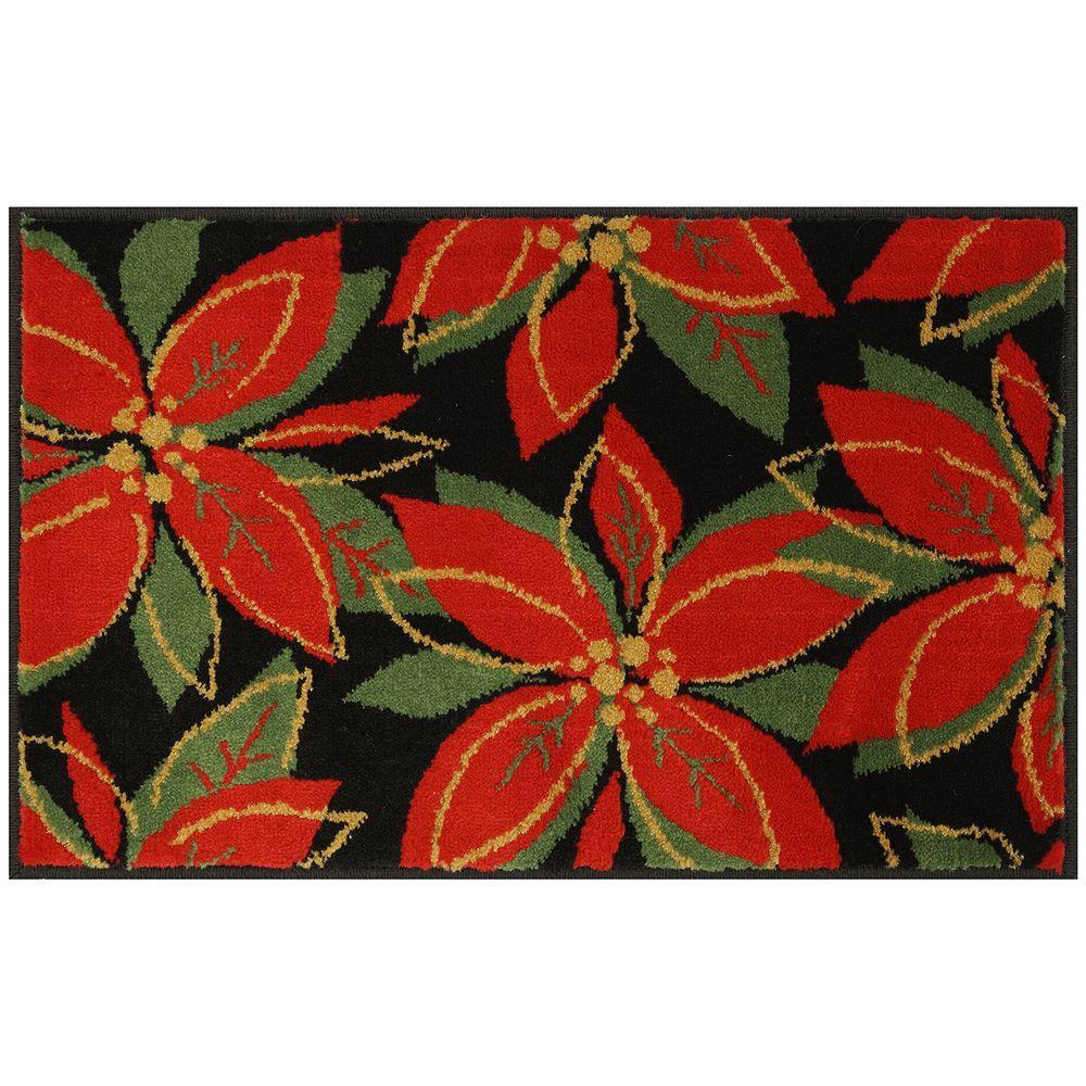 Mohawk Home Poinsettia Sketch 20 in. x 30 in. Woven Door Mat