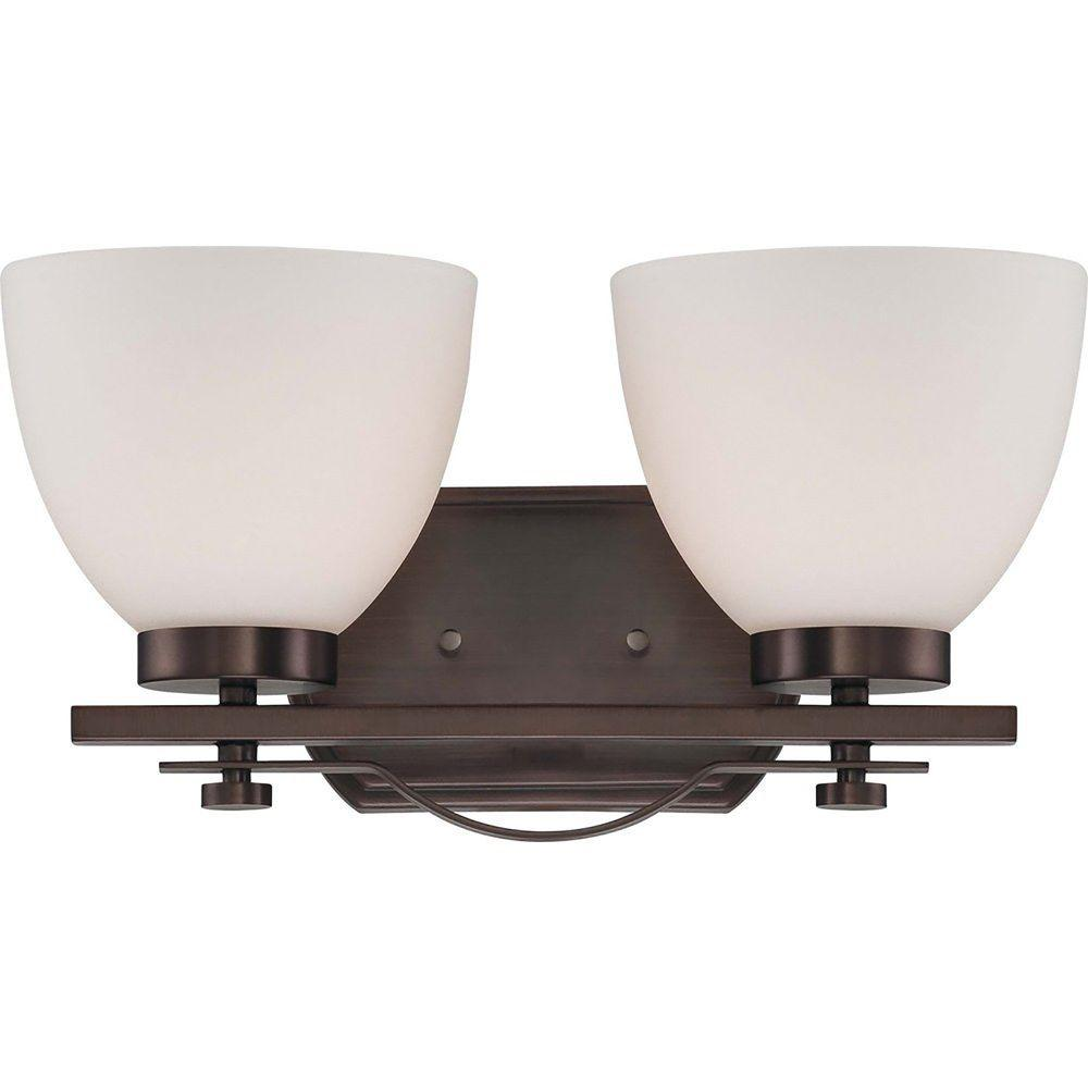 2-Light Hazel Bronze Vanity Fixture with Frosted Glass Shade