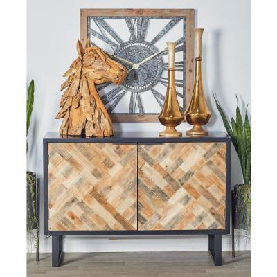 Black Weave-Style 2-Door Cabinet with Brown, Gray and Beige Accents