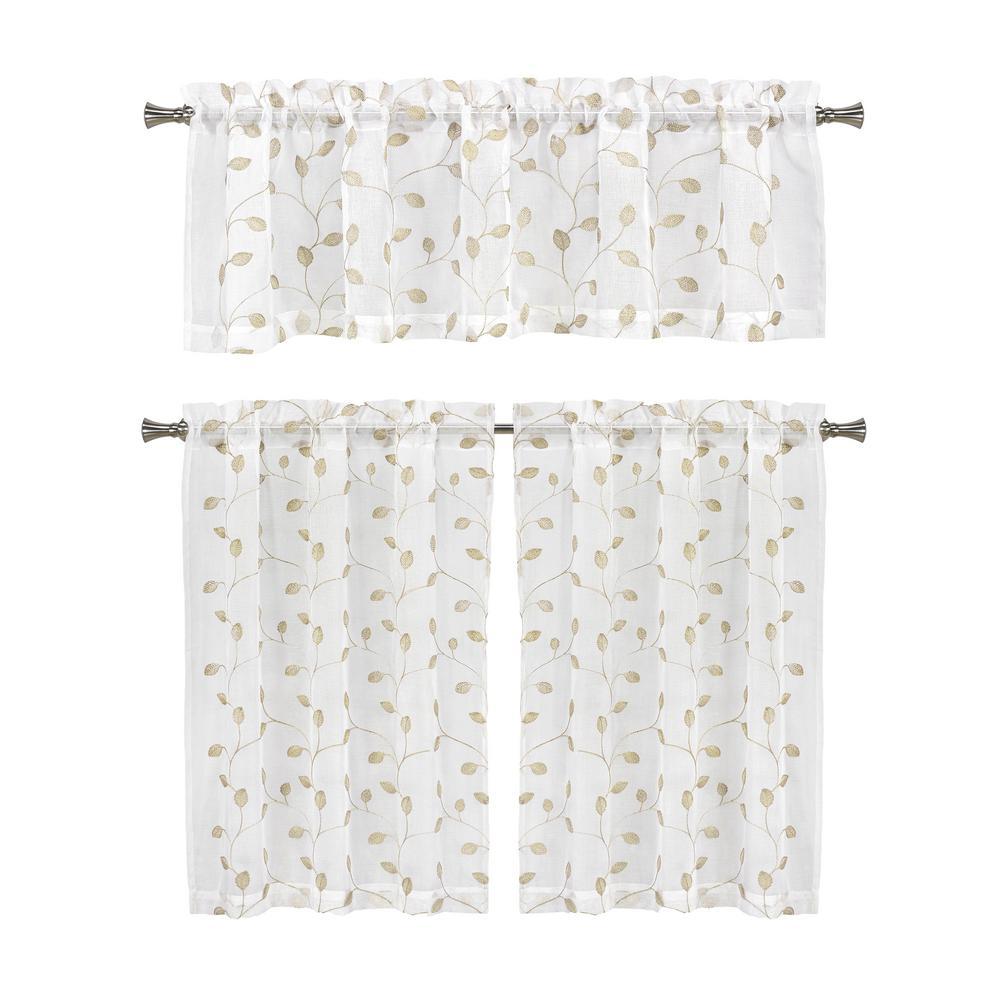 Kira Linen Kitchen Curtain Set - 56 in. W x 15 in. L (3-Piece)