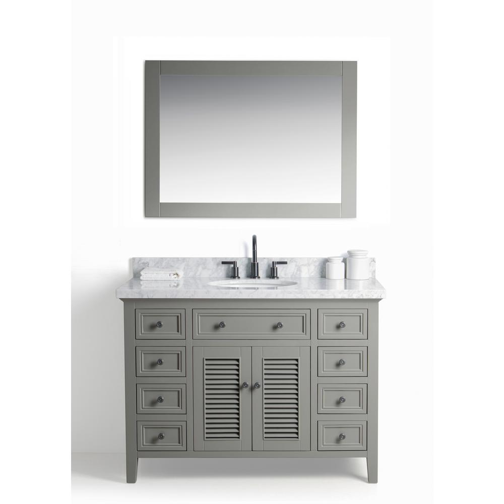 Legion Furniture 48 In W X 22 D Vanity Gray With Cararra Marble Top White And Basin Mirror