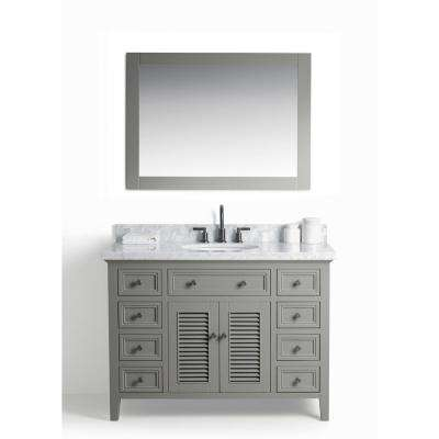48 in. W x 22 in. D Vanity in Gray with Cararra Marble Vanity Top in White and Gray with White Basin and Mirror