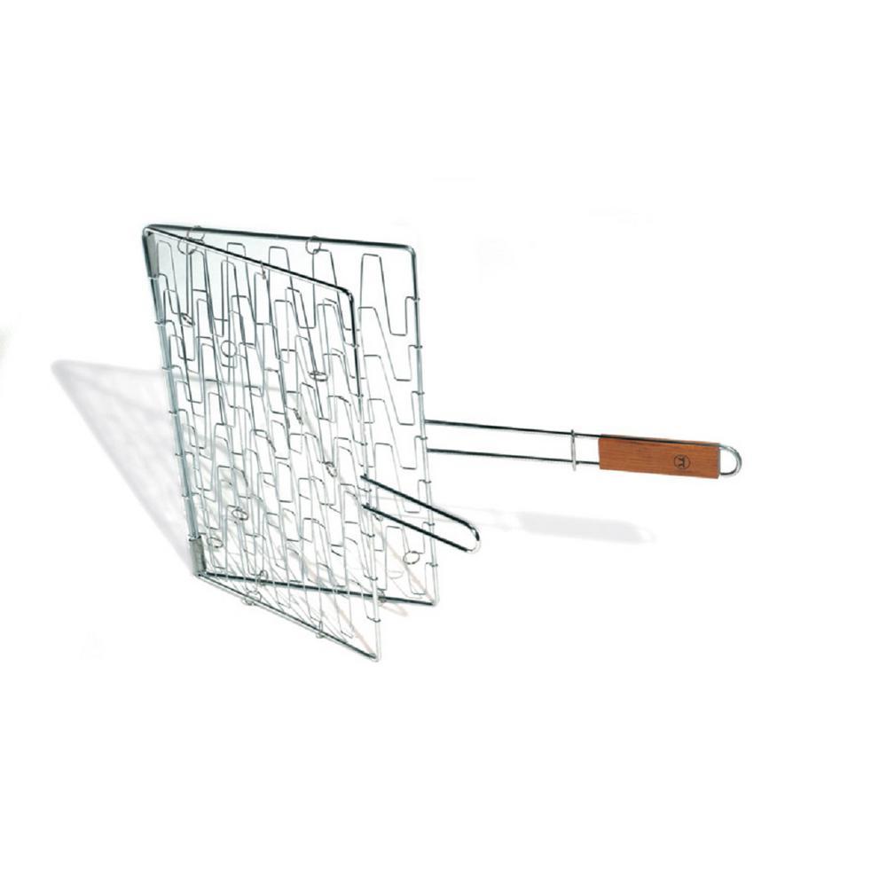 Chrome Flex Grill Basket Rosewood Handle
