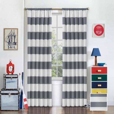42 in. W x 63 in. L Peabody Blackout Polyester Window Curtain Panel in Grey