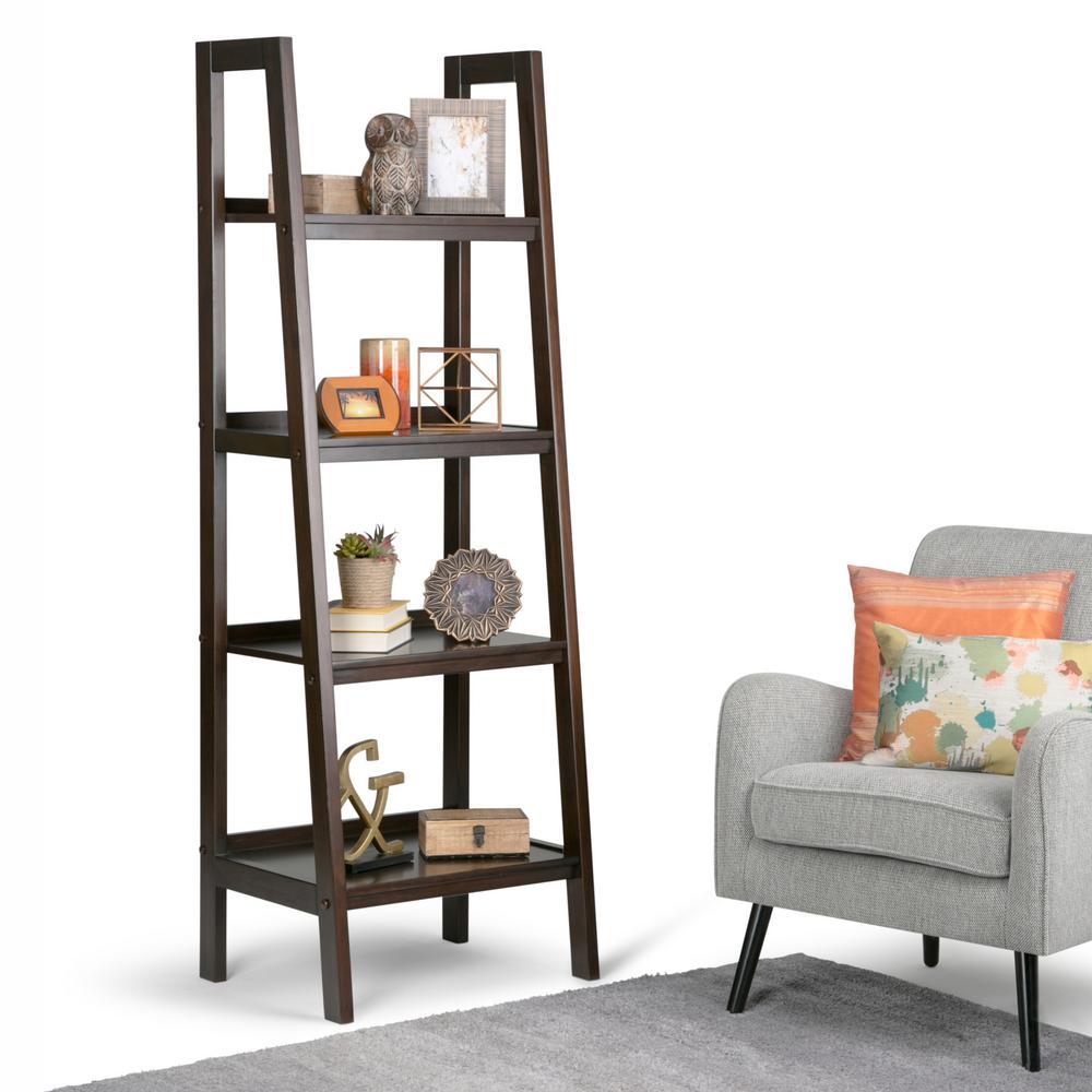Design Ladder Bookcase simpli home sawhorse dark chestnut brown ladder bookcase 3axcsaw bookcase