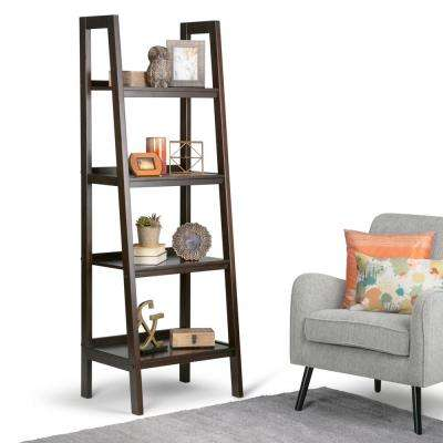 Sawhorse Dark Chestnut Brown Ladder Bookcase