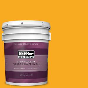 Behr Ultra 5 Gal P270 7 Sunny Side Up Eggshell Enamel Interior Paint And Primer In One 275305 The Home Depot