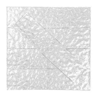 Metallics Silver Wavy 3 in. x 6 in. Glass Wall Tile (1 sq. ft. / pack)