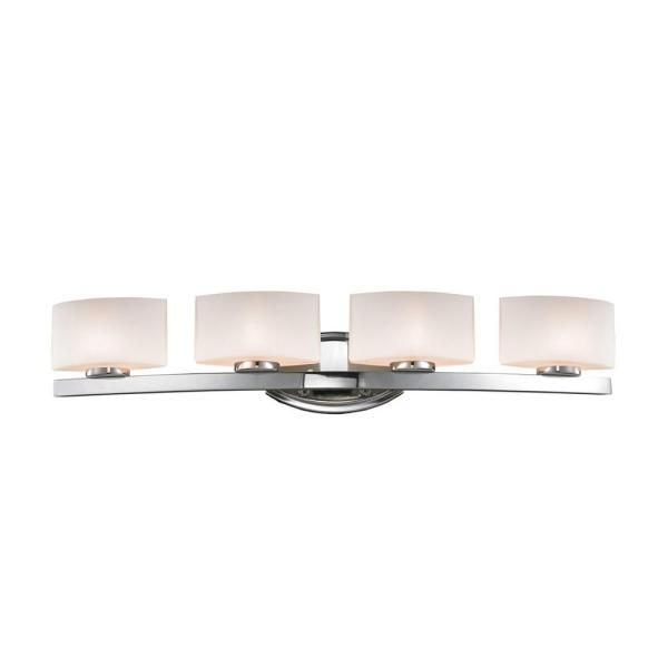 Chrome Finish Classic 4-Light LED Vanity Opal Glass Shade