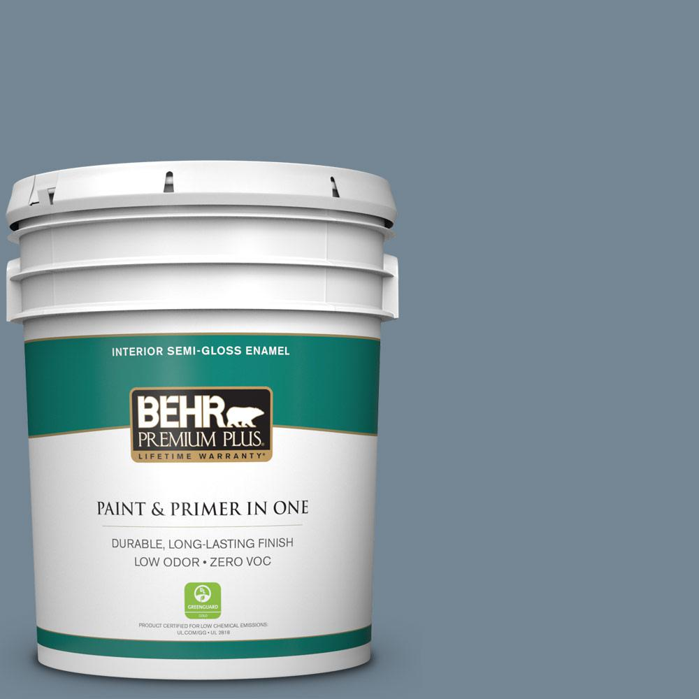 5 gal. #PPU14-05 Forever Denim Zero VOC Semi-Gloss Enamel Interior Paint