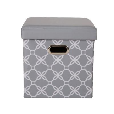 15 in. H Gray Cube Oxford Foldable Storage Ottoman with Padded Seat