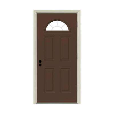32 in. x 80 in. Fan Lite Dark Chocolate Painted Steel Prehung Left-Hand Outswing Front Door w/Brickmould