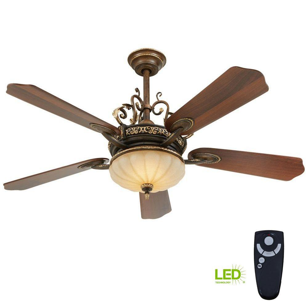 Home Decorators Collection Cau Deville 52 In Integrated Led Indoor Walnut Ceiling Fan With Light