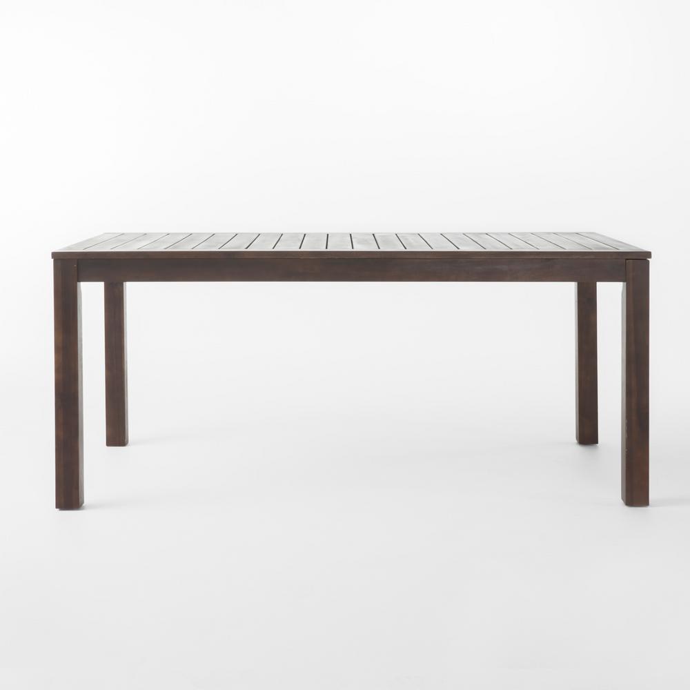 Dark Brown Rectangular Wood Outdoor Dining Table