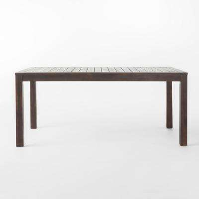 Dark Brown Rectangular Wood Outdoor Dining Table