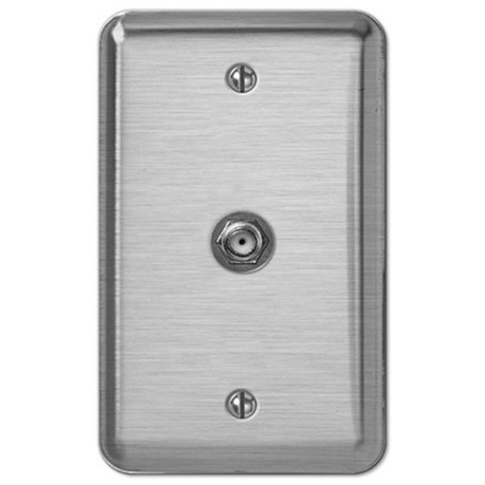 Creative Accents Steel 1 Video Wall Plate - Brushed Chrome-DISCONTINUED