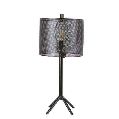 35 in. Rhett Black Metal Table Lamp with Shade