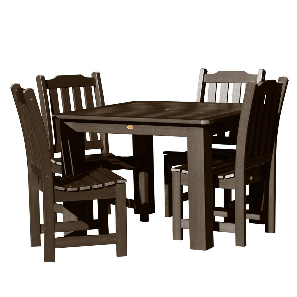 Highwood Lehigh Weathered Acorn 5-Piece Recycled Plastic Square Outdoor  Dining Set