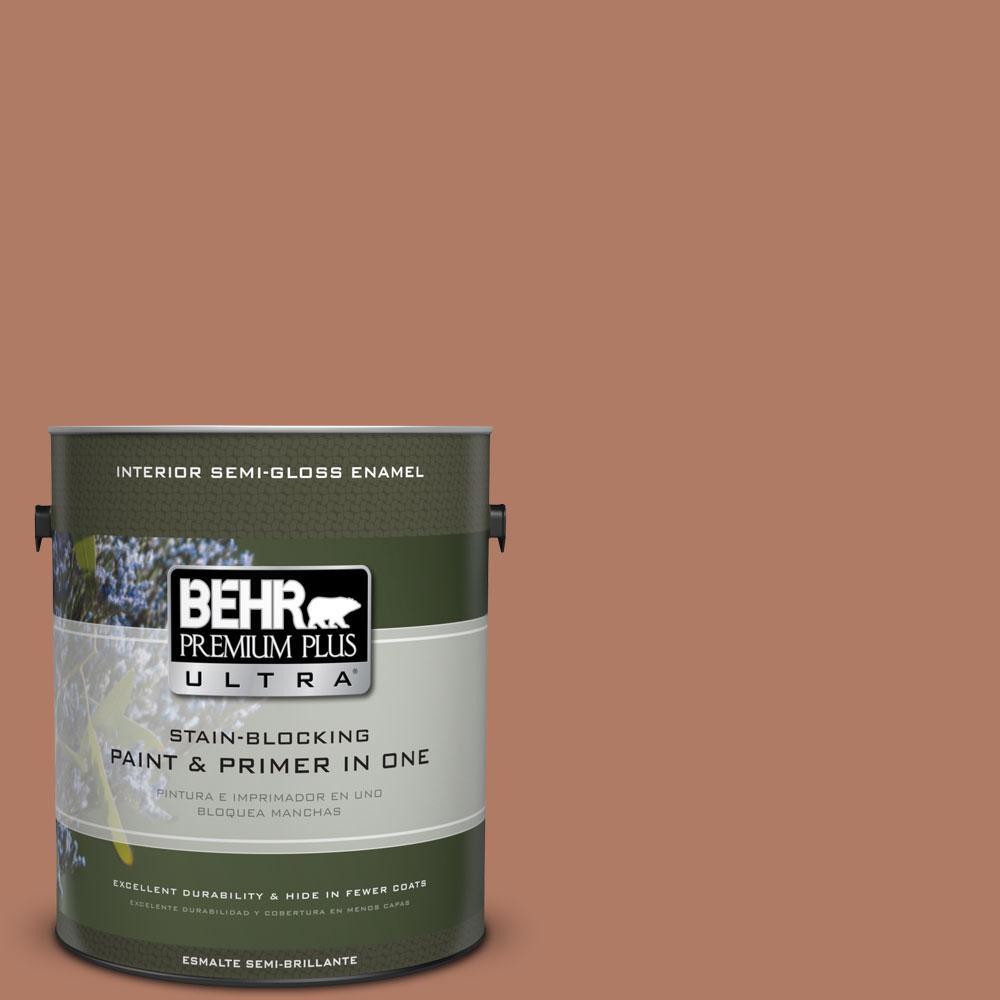1 gal. #PMD-84 Pecan Semi-Gloss Enamel Interior Paint and Primer in