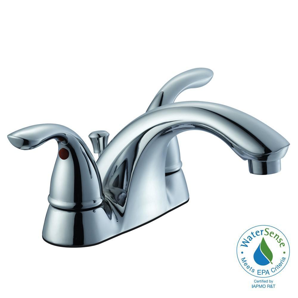 Glacier Bay Builders 4 inch Centerset 2-Handle Low-Arc Bathroom Faucet in Chrome by Glacier Bay