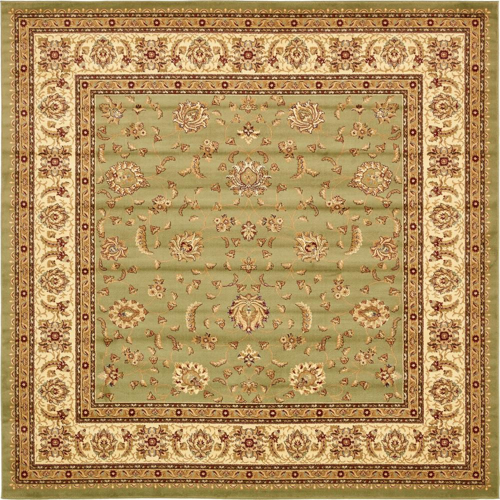 Unique Loom Agra Green 10 Ft X 10 Ft Square Area Rug