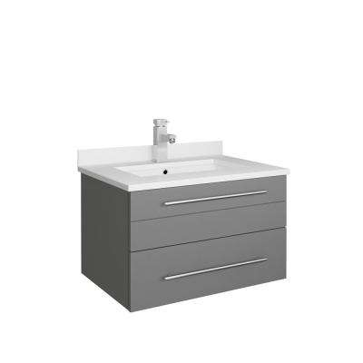 Lucera 24 in. W Wall Hung Bath Vanity in Gray with Quartz Stone Vanity Top in White with White Basin