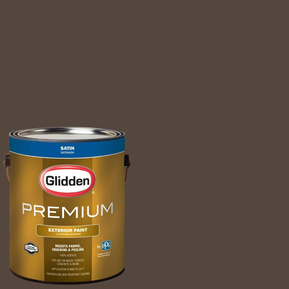 Glidden Premium 1 Gal Hdgwn39d Earth Brown Satin Latex Exterior Paint