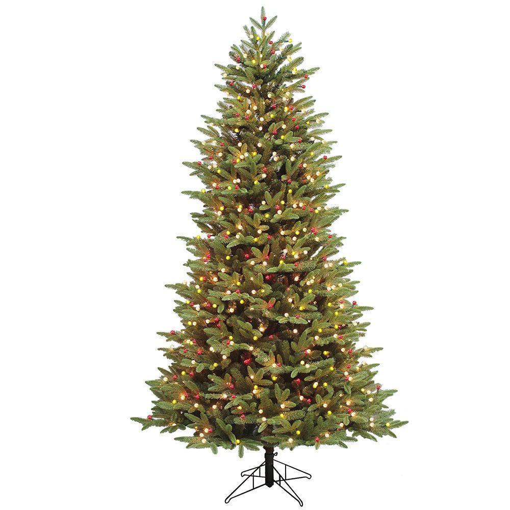 7.5 ft. Indoor Just Cut Alaska Fir Artificial Christmas Tree with ConstantON Lights and 1-Plug