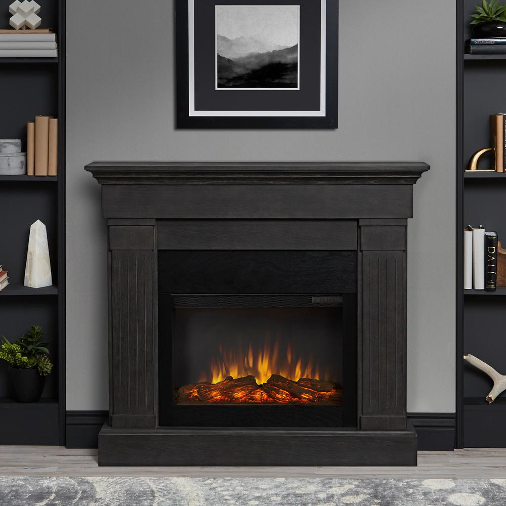Crawford Slimline 47 in. Freestanding Electric Fireplace in Gray