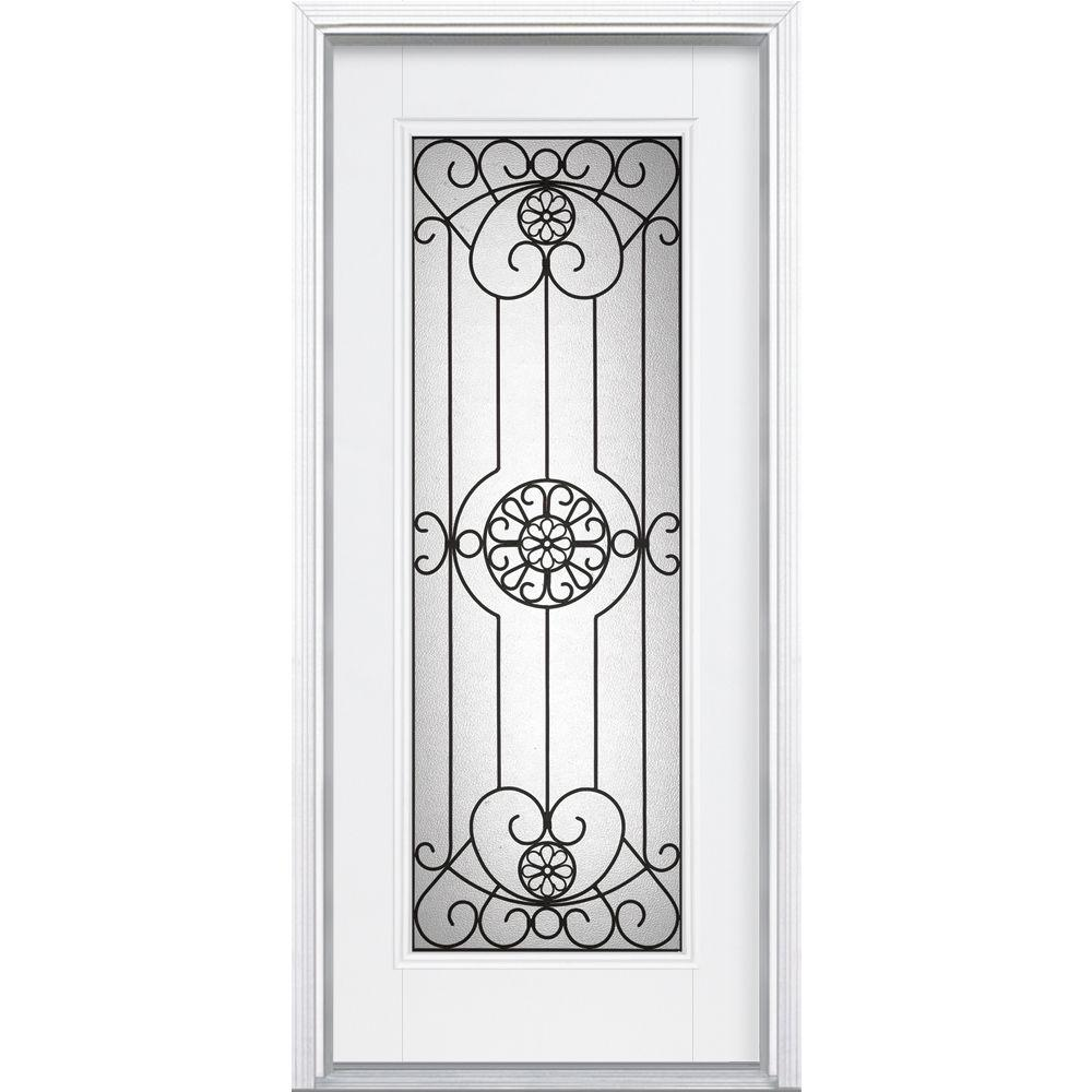 Masonite Santa Maria Full Lite Primed Steel Prehung Front Door with Brickmold-DISCONTINUED