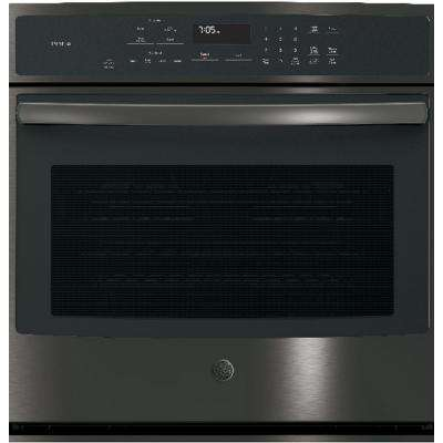 Profile 30 in. Single Electric Wall Oven Self-Cleaning with Steam Plus Convection in Black Stainless Steel