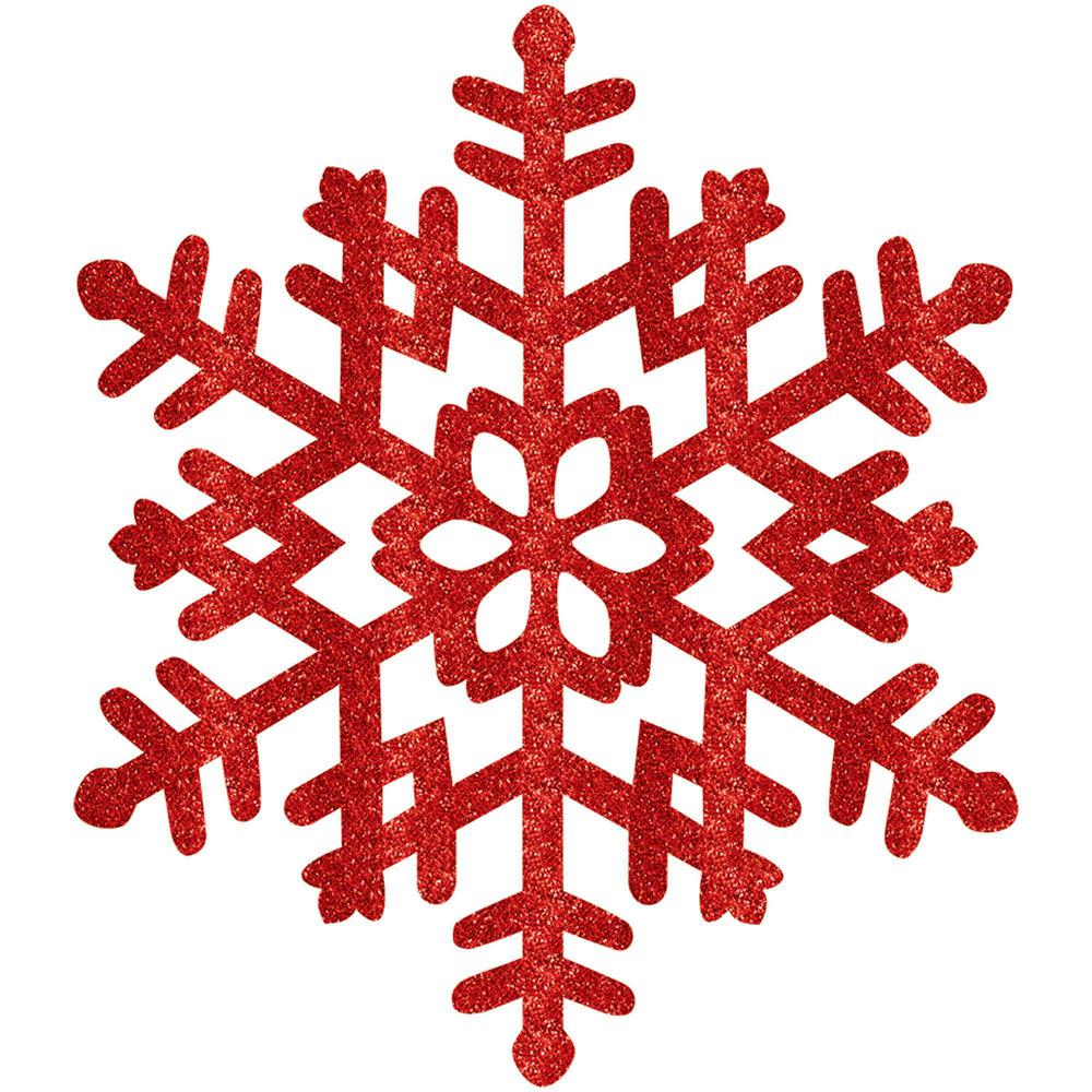 Amscan 15 in. Red Glitter Snowflake (4-Pack)-190494 - The Home Depot