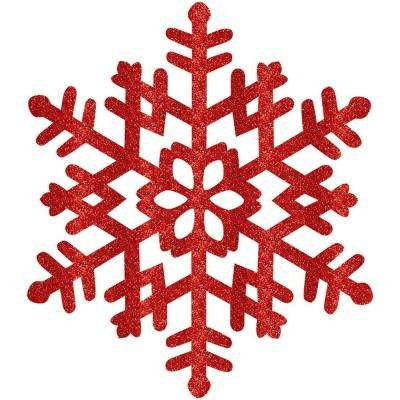 15 in. Red Glitter Snowflake (4-Pack)