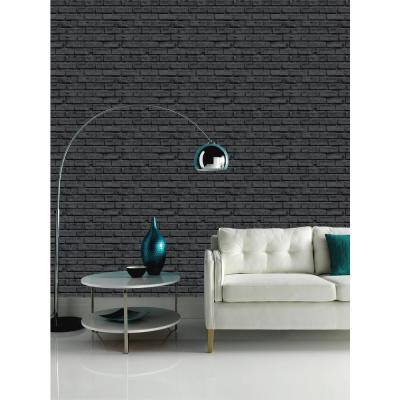 Black Brick Effect Unpasted Wallpaper
