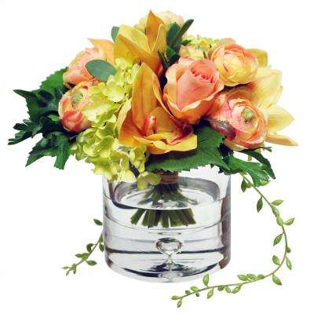 8 in. Ranunculus Orchid Bouquet in Vase