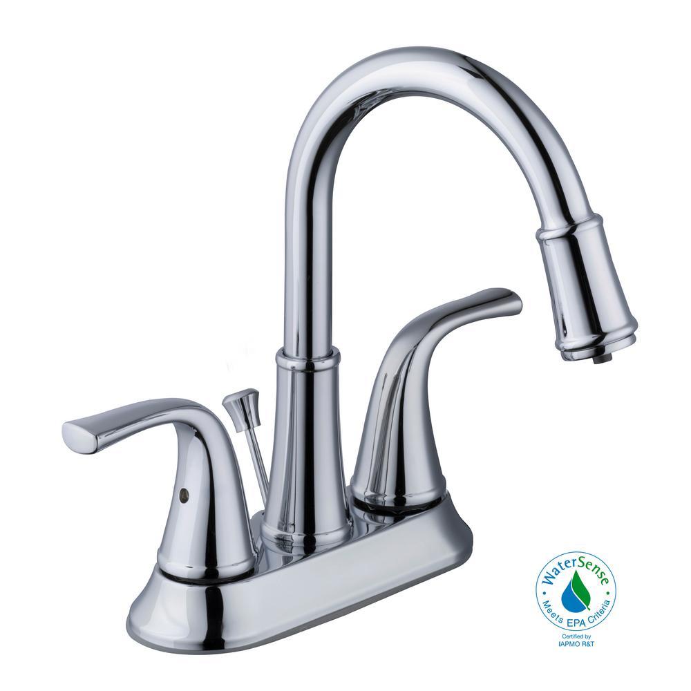 Focus 4 in. Centerset 2-Handle LED High-Arc Bathroom Faucet in Chrome