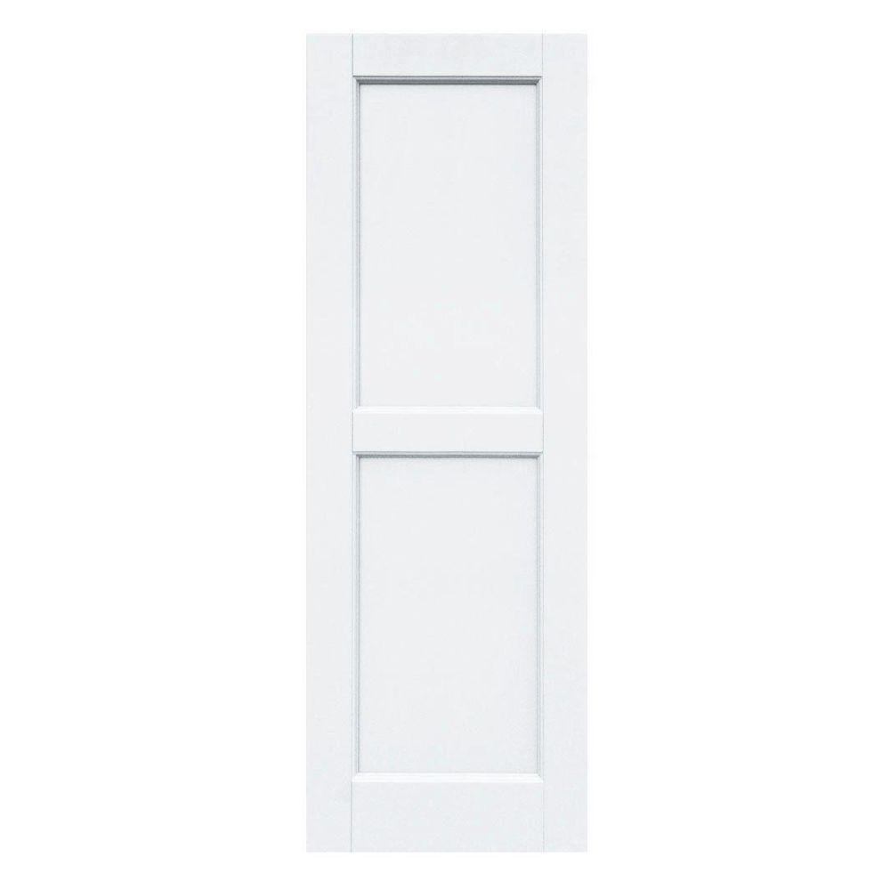Winworks Wood Composite 15 in. x 44 in. Contemporary Flat Panel Shutters Pair #631 White