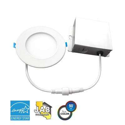 6 in. 4000K New Construction or Remodel IC Rated Canless Integrated LED Recessed Kit for Shallow Ceiling