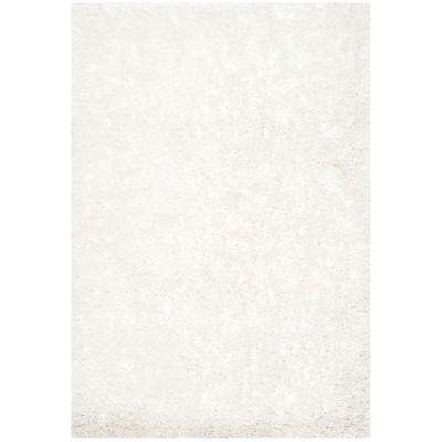 South Beach Shag Snow White 3 ft. x 5 ft. Area Rug